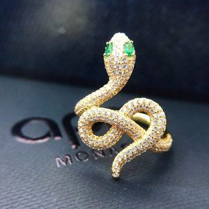 ☠APM Monaco Snake Ring With White And Green Stones
